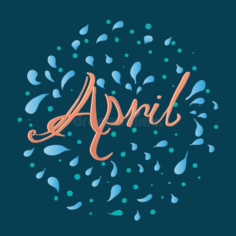 Hand het getrokken van letters voorzien April stock illustratie