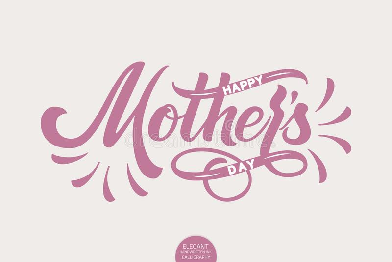 Hand het getrokken van letters voorzien - Gelukkige Moedersdag Elegante moderne met de hand geschreven kalligrafie Vectorinktillu vector illustratie