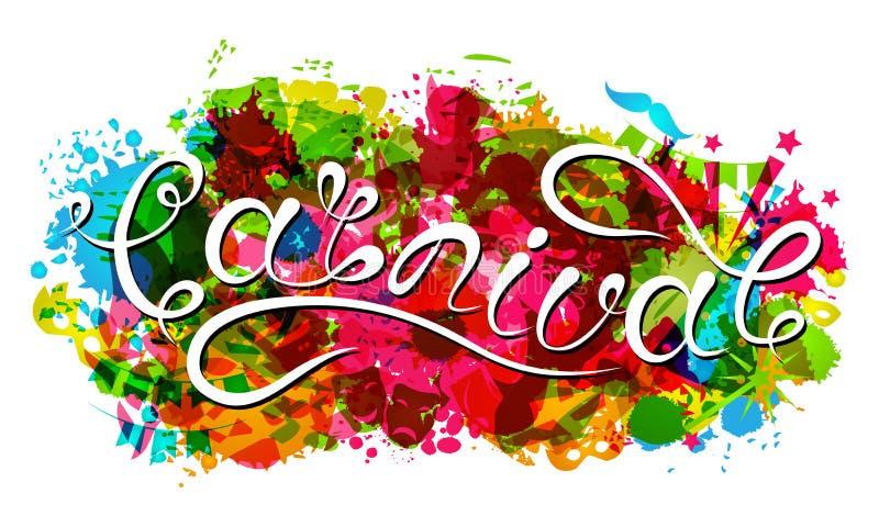 Hand het Getrokken Van letters voorzien voor Carnaval-Partij Logotype, Kenteken, Affichekaart, Banner royalty-vrije illustratie