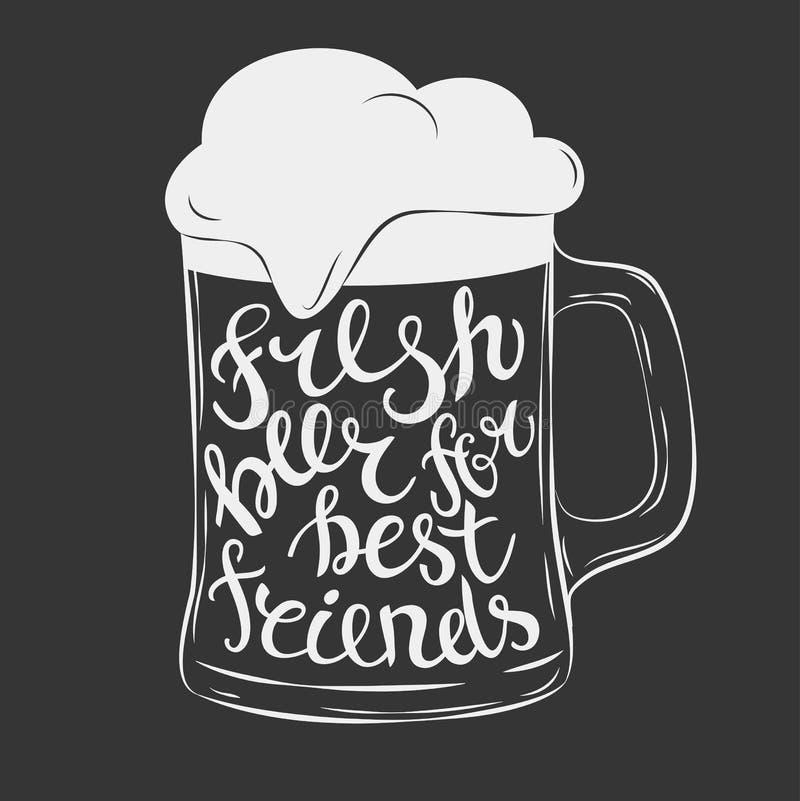 Hand het Getrokken van letters voorzien voor met mok bier stock illustratie