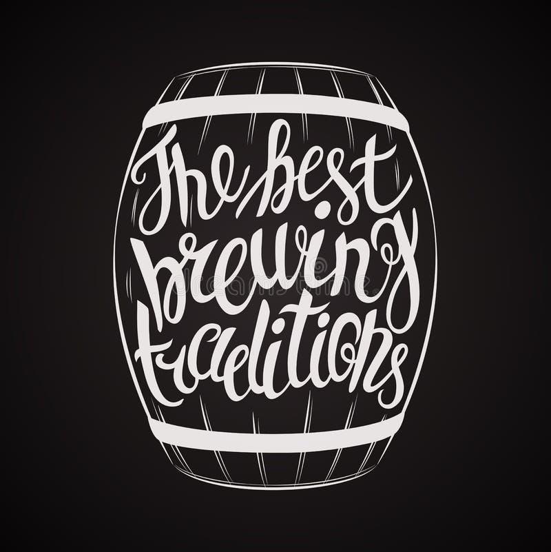 Hand het Getrokken van letters voorzien voor met vat bier vector illustratie