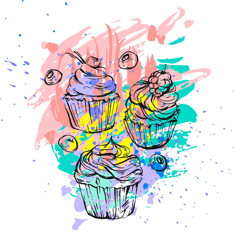 Hand het getrokken vector abstracte grafische plaatste schilderen uit de vrije hand cupcakes inzameling in heldere kleuren Uniek  stock illustratie