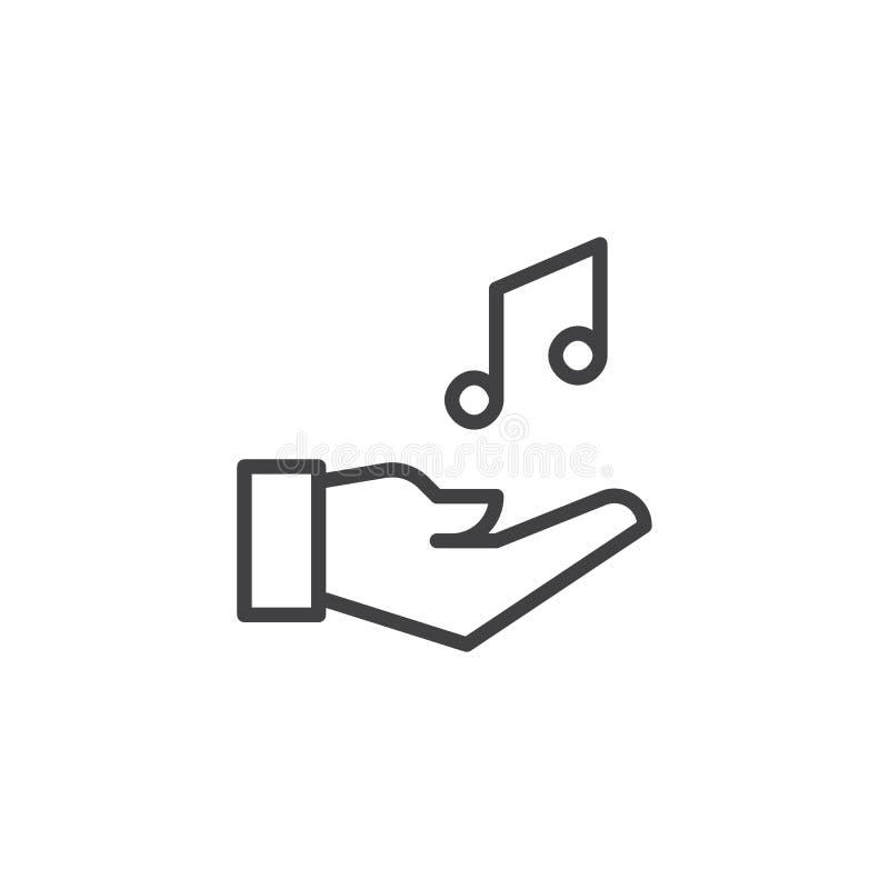 In hand het overzichtspictogram van de muzieknota royalty-vrije illustratie