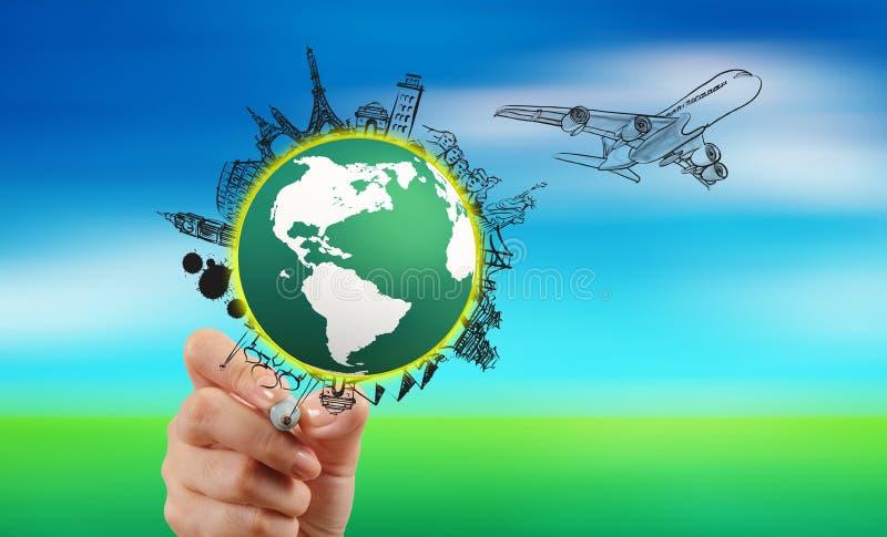 Hand het reizen rond de wereld door luchtvliegtuig dat wordt getrokken stock afbeeldingen
