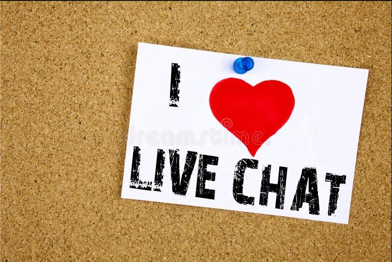 Hand het schrijven de inspiratie die van de teksttitel I-het concept van Liefdelive chat betekenen tonen die Mededeling babbelen  stock afbeeldingen