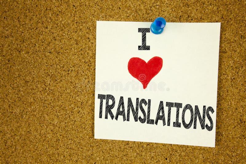 Hand het schrijven de inspiratie die van de teksttitel I-Liefde Vertaalconceptenbetekenis tonen vertaalt verklaart pleit Boektaal stock afbeeldingen