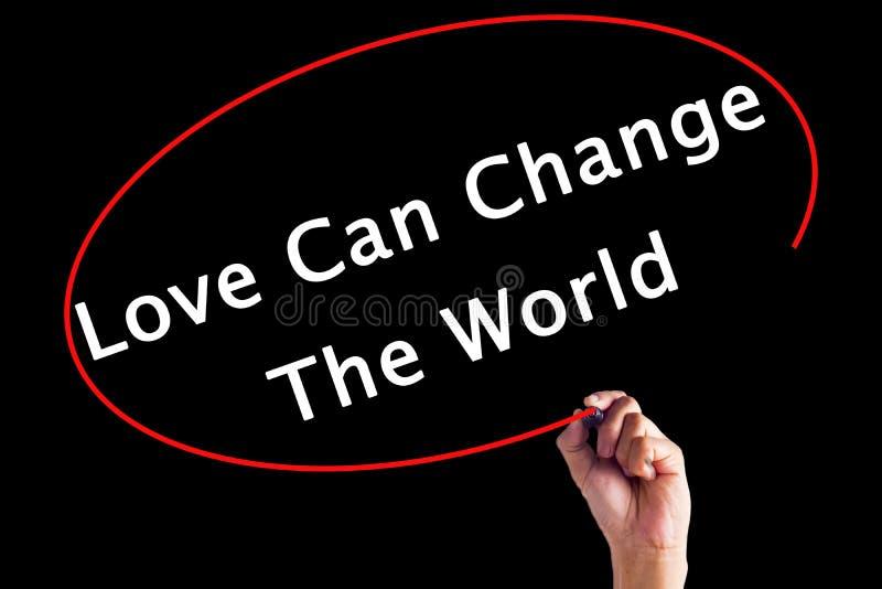 Hand het Schrijven de Liefde kan de Wereld met een teller veranderen stock afbeelding