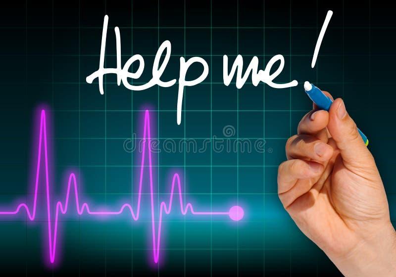 Hand het schrijven het bericht HELPT ME! stock illustratie