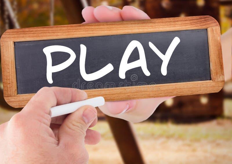 Hand het schrijven spel op bord royalty-vrije illustratie