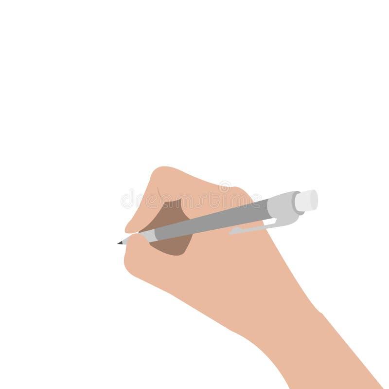 Hand het schrijven tekeningspen De holdingspotlood van de vrouw Schrijver, student, kunstenaarslichaamsdeel Leeg malplaatje Vlak  stock illustratie