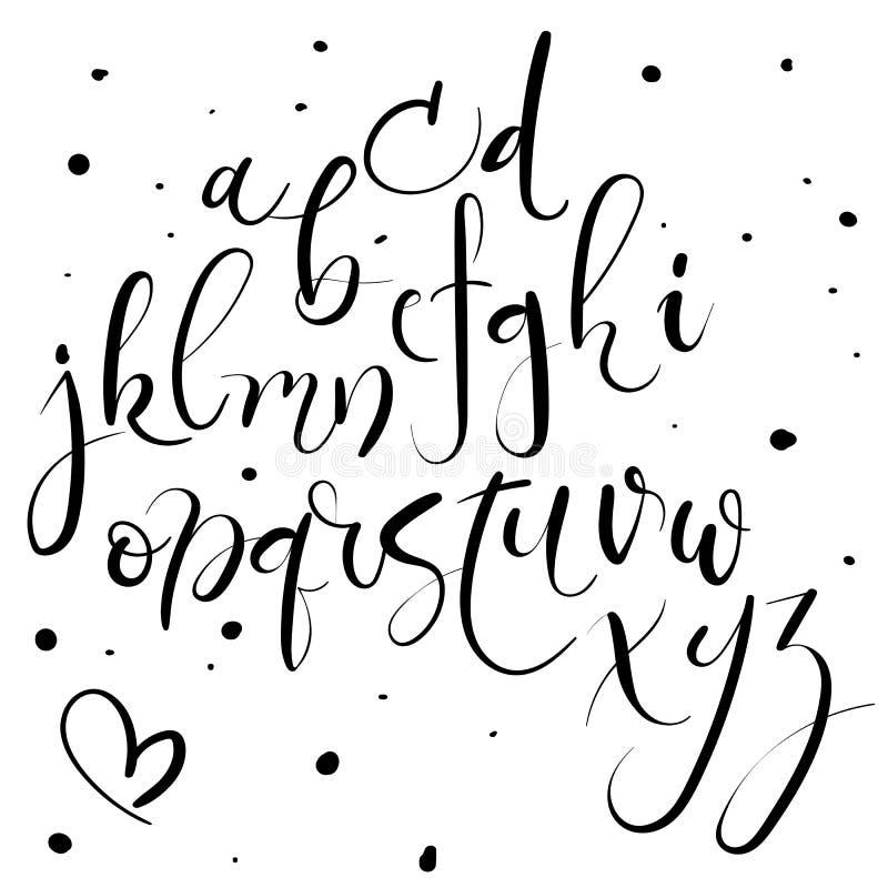 Hand het van letters voorzien alfabet Hand getrokken brieven Moderne Kalligrafiedoopvont Vector vector illustratie