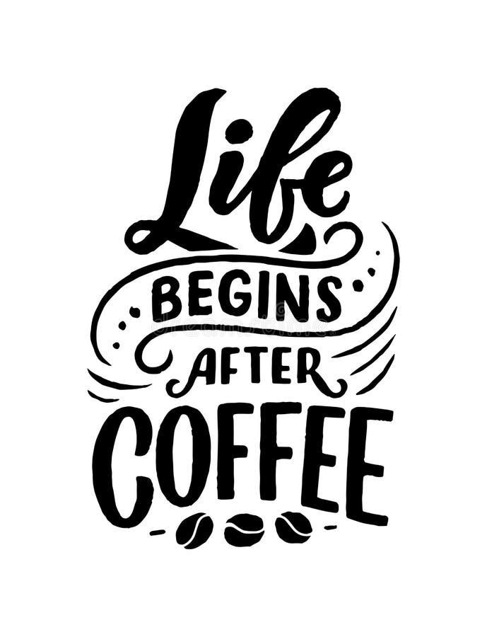 Hand het van letters voorzien citaat met schetsen voor koffiewinkel of koffie Hand getrokken uitstekende die typografieinzameling stock illustratie