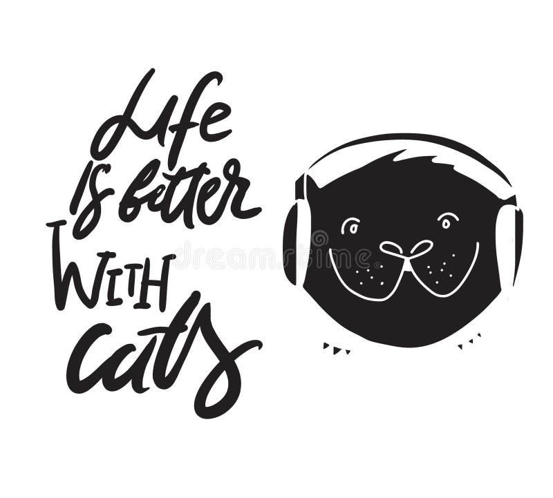 Hand het van letters voorzien citaten voor uw ontwerp over katten stock illustratie
