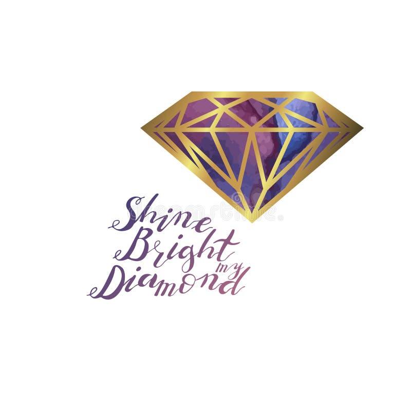 Hand het van letters voorzien de uitdrukking glanst helder mijn die diamant op witte achtergrond wordt geïsoleerd royalty-vrije illustratie
