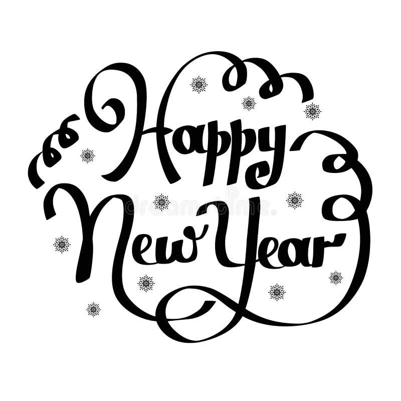 Hand het van letters voorzien inschrijvings gelukkig nieuw jaar stock illustratie