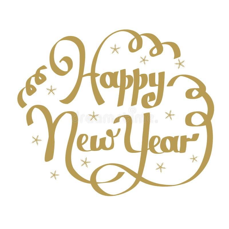 Hand het van letters voorzien inschrijvings gelukkig nieuw jaar vector illustratie