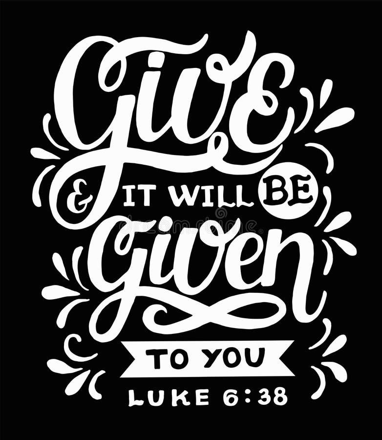 Hand het van letters voorzien met bijbelvers geeft en het zal aan u op zwarte achtergrond worden gegeven stock illustratie