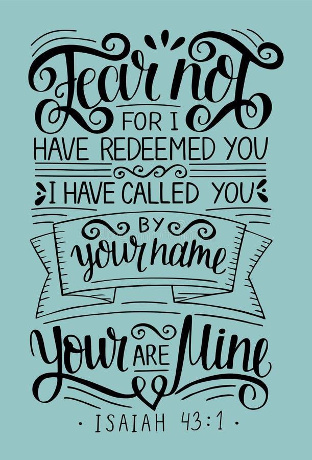 Hand het van letters voorzien met de Vrees van het bijbelvers niet, voor heb ik yu teruggekocht, geroepen door uw naam isaiah stock illustratie
