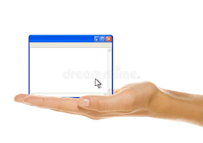 In hand het venster van de computer stock foto's