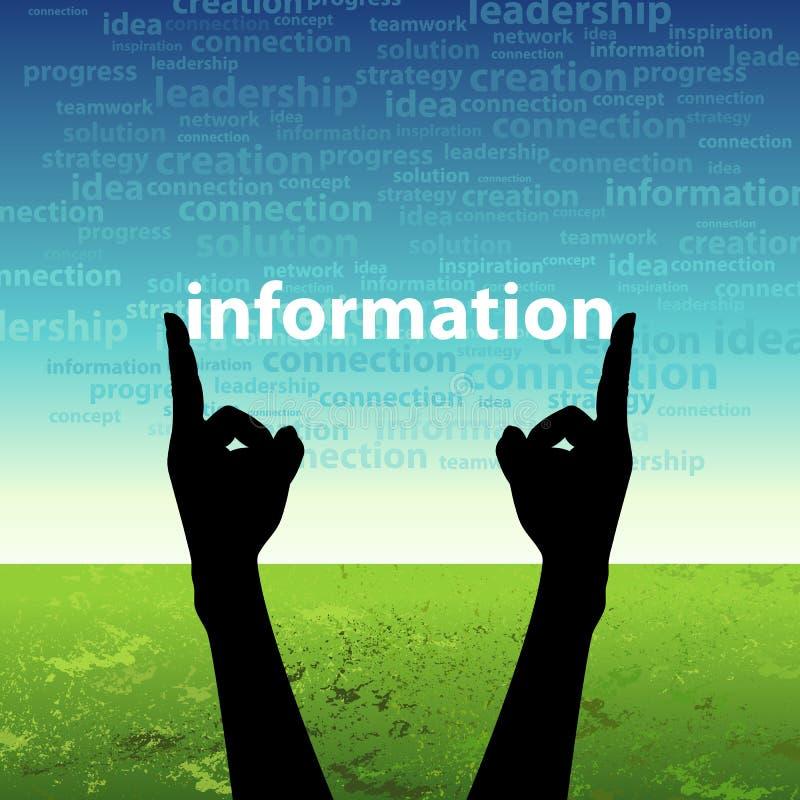 In hand het woord van de informatie stock illustratie