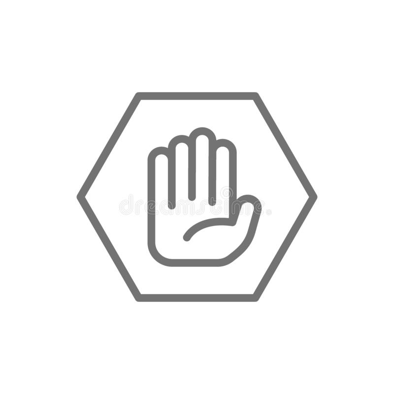 Hand in hexagon, do not touch, no sign allowed line icon. vector illustration