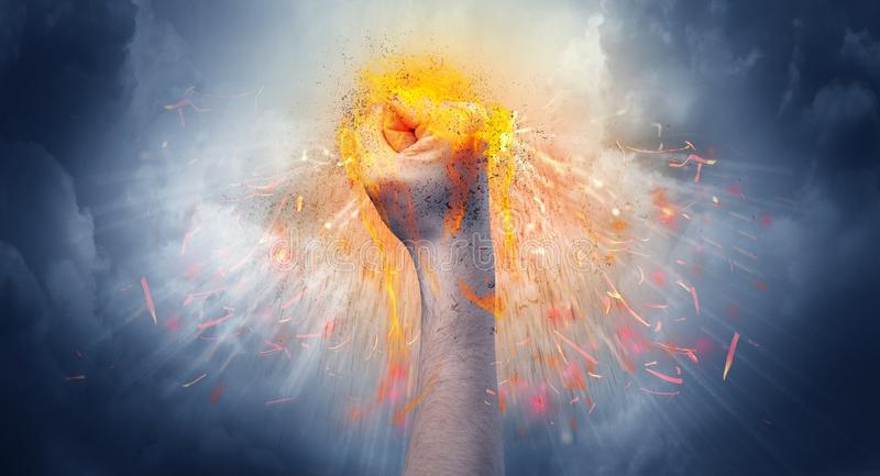 Hand hits intense and makes fire royalty free stock images