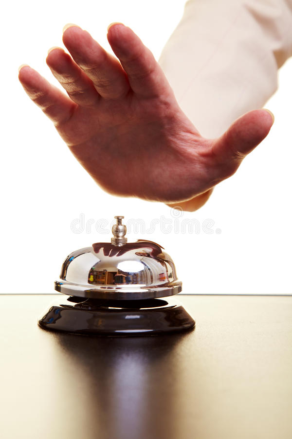 Download Hand hitting hotel bell stock image. Image of service - 15154813