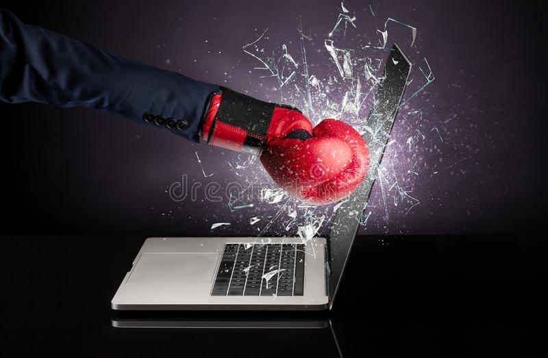 Hand hitting laptop screen screen. Hand hitting strongly laptop screen glass stock images