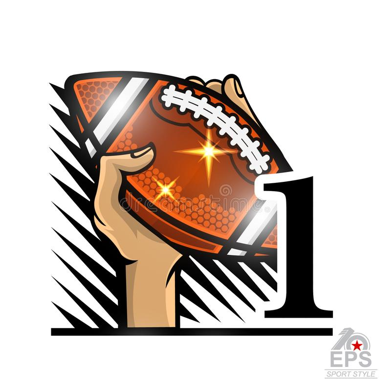 Hand hold american football ball with number one. Sport logo isolated on white for any team. Or competition stock illustration