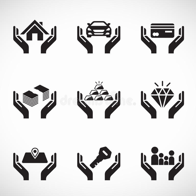Hand hold asset and insurance icon business vector set design stock illustration
