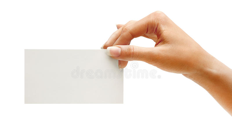 Hand hold blank business card. Isolated on white background. Close up royalty free stock images