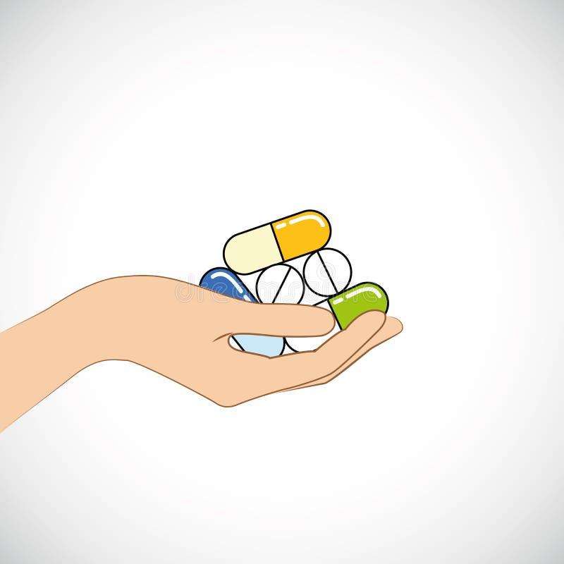 Hand hold blue pills and capsules tablets painkillers, antibiotics, vitamins. Vector illustration vector illustration