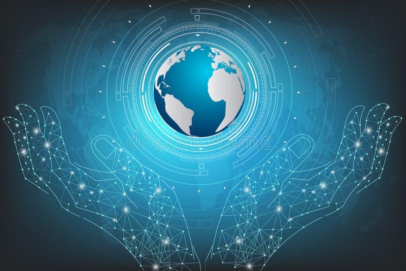 Hand hold blue planet on technology background.vector illustration. stock illustration