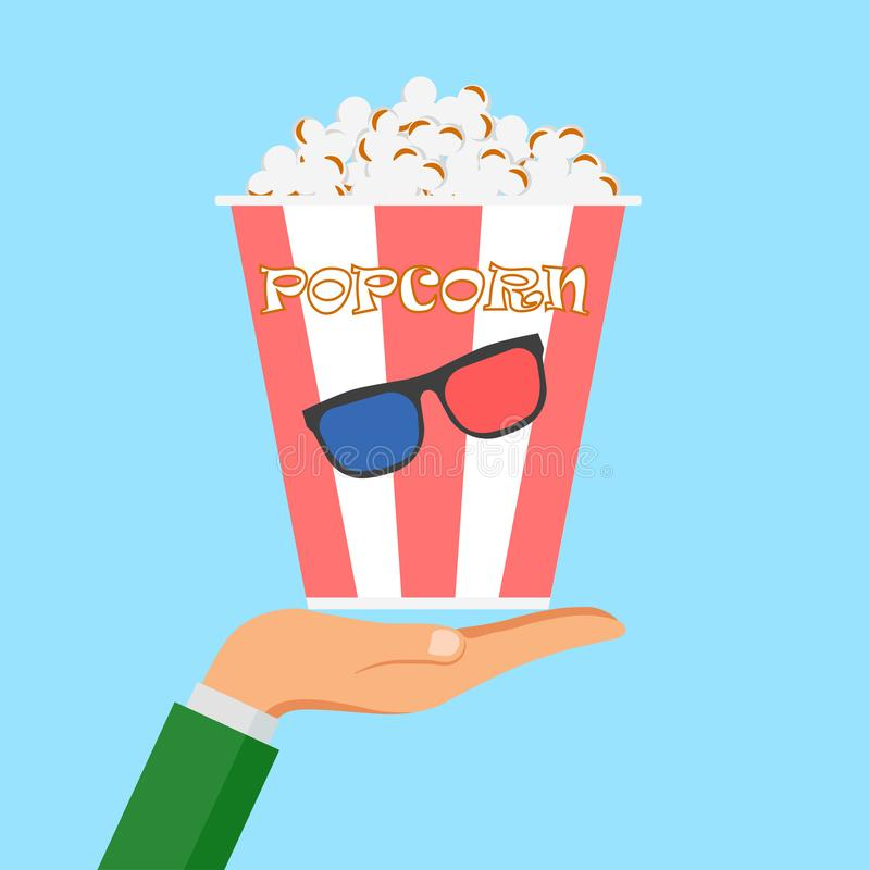 Hand hold bowls, box of popcorn isolated on background. Movies, cinema theater, film concept. Vector design royalty free stock photos