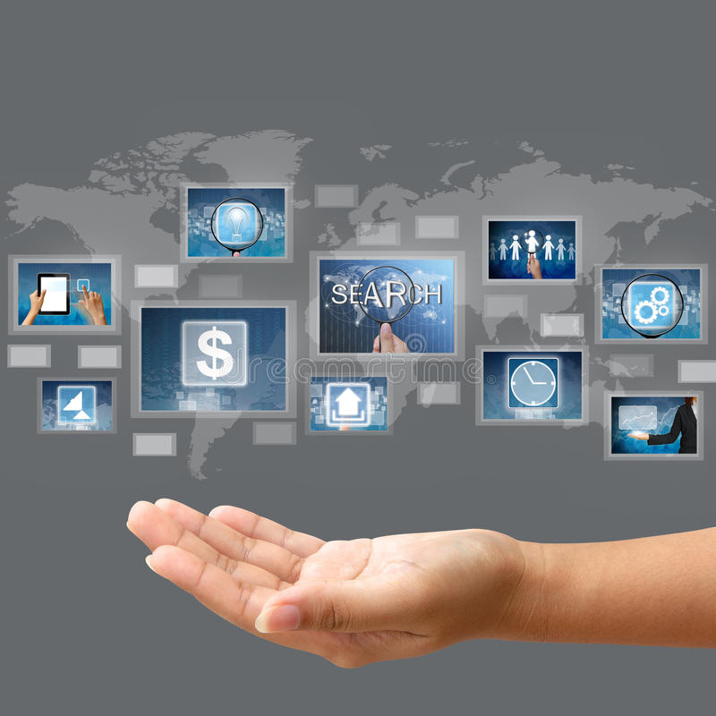 Hand hold business concept. On touch screen interface royalty free stock images