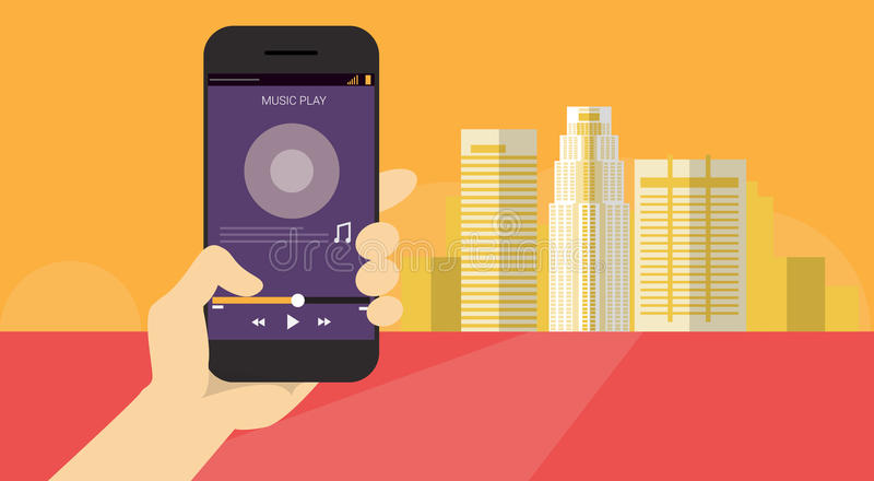 Hand Hold Cell Smart Phone Application Music Player Banner stock illustration