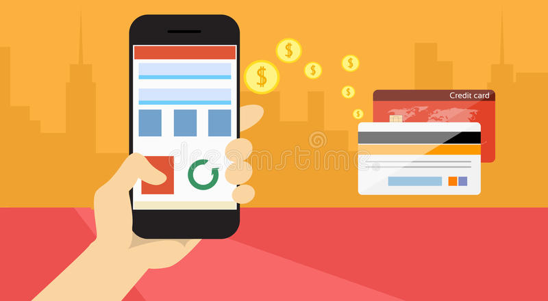 Hand Hold Cell Smart Phone Application Online Banking Payment Banner stock illustration