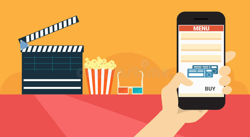 Hand Hold Cell Smart Phone Application Online Cinema Ticket Booking Banner. Flat Vector Illustration royalty free illustration