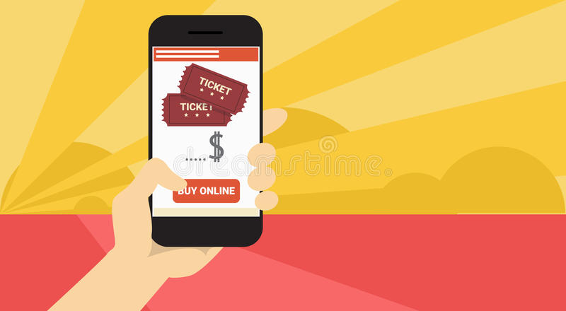 Hand Hold Cell Smart Phone Application Online Cinema Ticket Booking Banner royalty free illustration