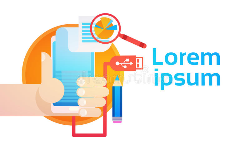 Hand Hold Cell Smart Phone Application Online Finance Business Graph Banner. Flat Vector Illustration royalty free illustration