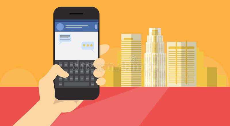 Hand Hold Cell Smart Phone Application Online Message Chat Network Communication Banner. Flat Vector Illustration stock illustration