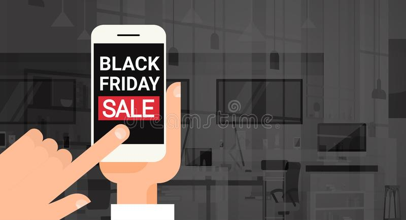 Hand Hold Cell Smart Phone With Black Friday Sale Message Discount Banner Design stock illustration