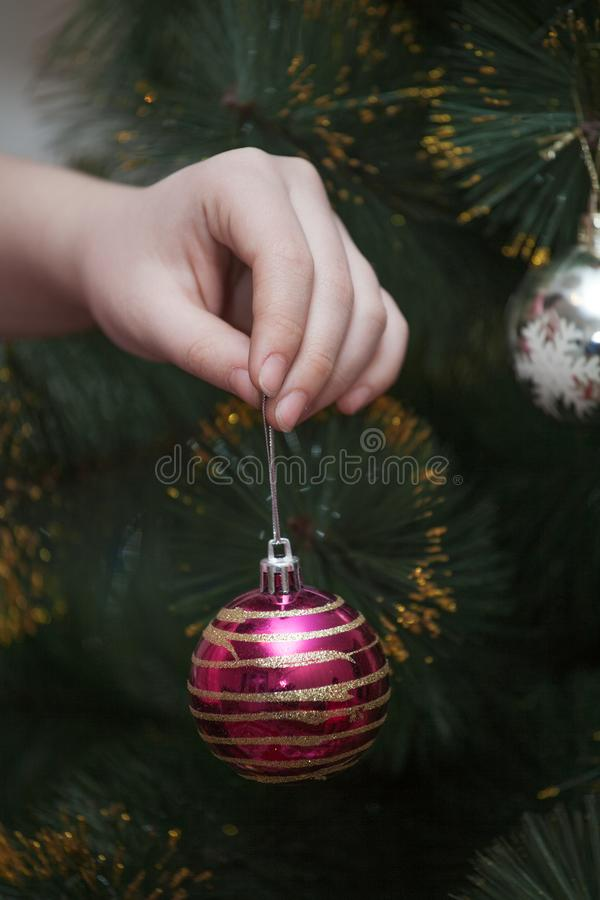 Hand hold a Christmas toy stock photos