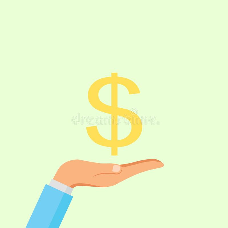 Hand hold dollar sign isolated on background. Money, currency Cash symbol icon. Business, economy concept. Vector flat royalty free stock images