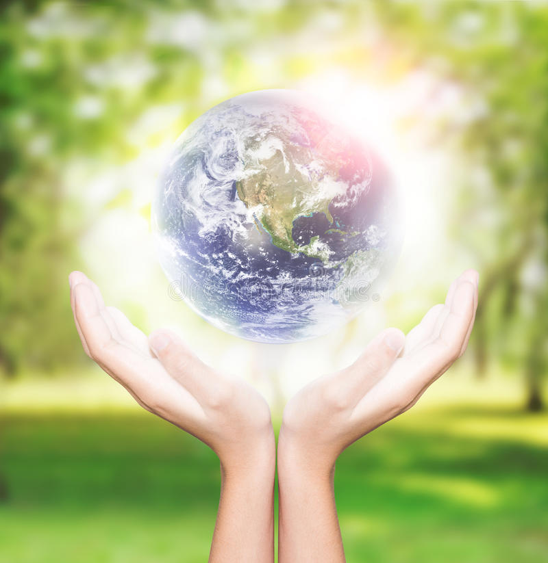 Hand hold earth environment element finished by nasa royalty free stock images