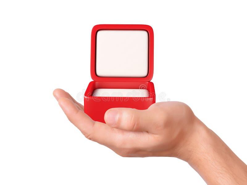 Hand hold Empty jeweller box on white background. Image of hand holding Empty jeweller box on isolated white background vector illustration