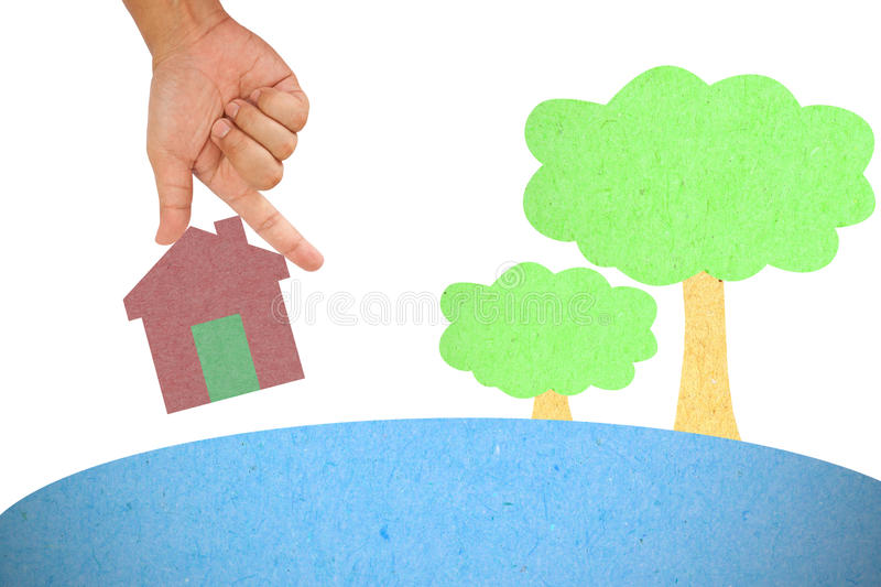 Hand hold house. Created from color paper vector illustration