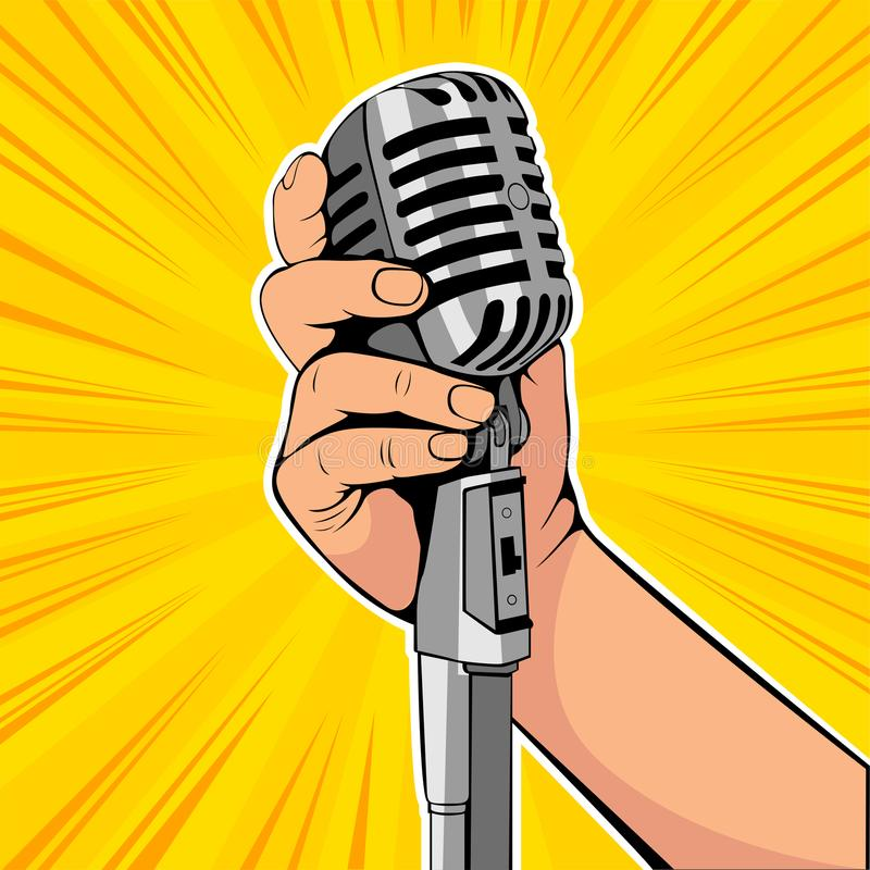 Hand hold microphone cartoon vector illustration. Retro poster comimc book performance. royalty free illustration