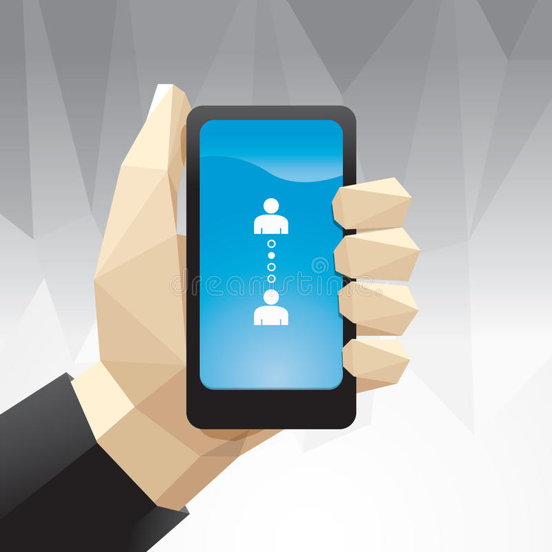 Hand hold mobile Geometric Design / can be used for infographic stock illustration