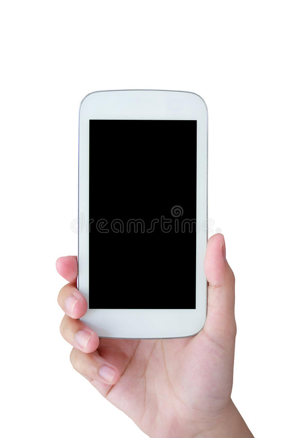 Hand hold mobile phone isolated on white royalty free stock photography